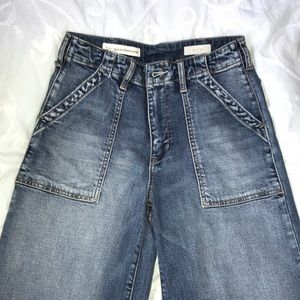 Anthropologie high waisted flare leg jeans.